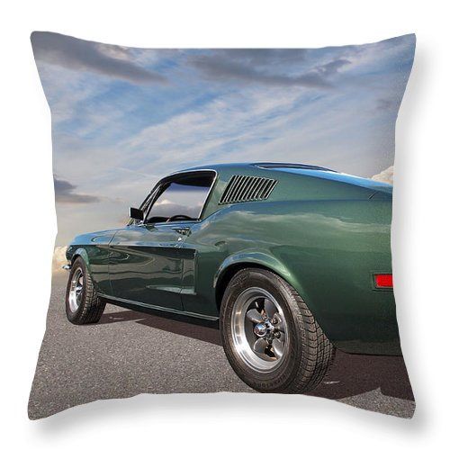 Ford Mustang Throw Pillow featuring the photograph Bullitt - 1968 Mustang Fastback by Gill Billington