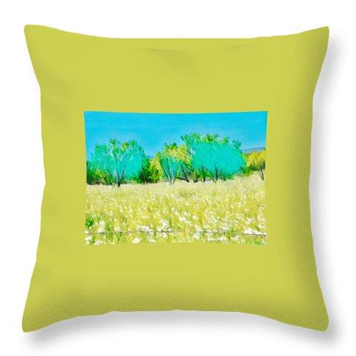 Willow City Loop Throw Pillow featuring the digital art Texas Bull Nettle by Wendy Biro-Pollard
