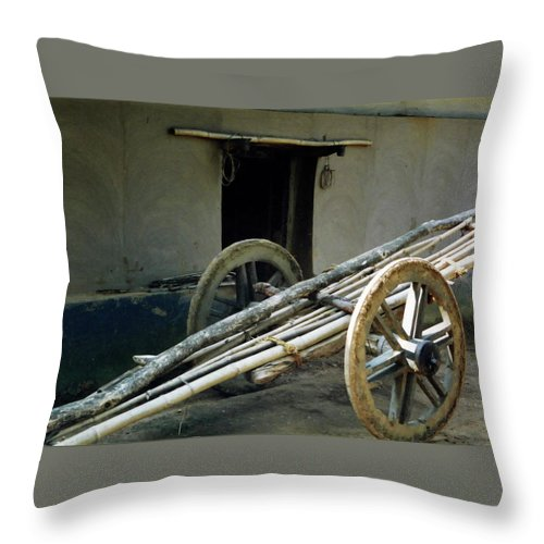 Bullock Cart Throw Pillow featuring the pyrography Bullock Cart by Ujjwal Rout