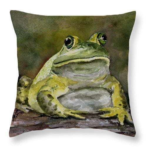 Frog Throw Pillow featuring the painting Bully by Sam Sidders