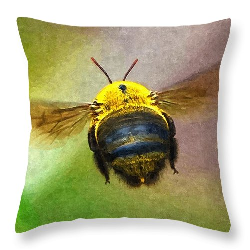 Animal Throw Pillow featuring the digital art Bumblebees Flight by Max Steinwald