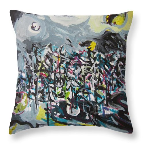 Abstract Paintings Throw Pillow featuring the painting Bummer Flat11 by Seon-Jeong Kim