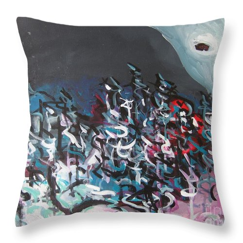 Abstract Paintings Throw Pillow featuring the painting Bummer Flat7 by Seon-Jeong Kim