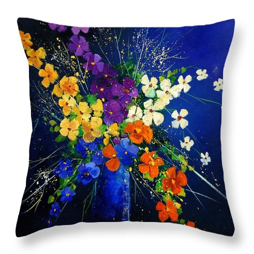 Poppies Throw Pillow featuring the print Bunch 0408 by Pol Ledent