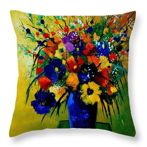 Poppies Throw Pillow featuring the painting Bunch 0508 by Pol Ledent