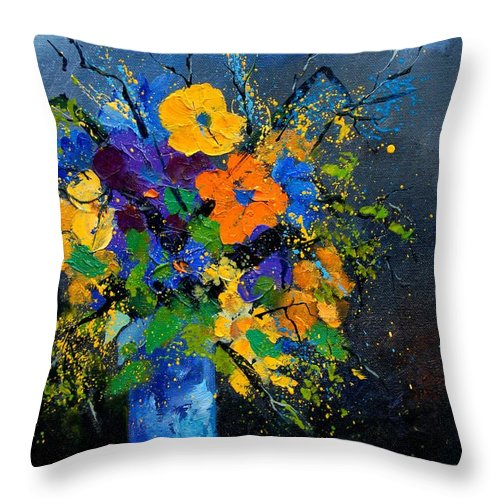Poppies Throw Pillow featuring the painting Bunch 1007 by Pol Ledent