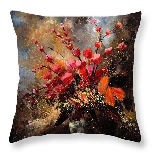Poppies Throw Pillow featuring the painting Bunch 1207 by Pol Ledent