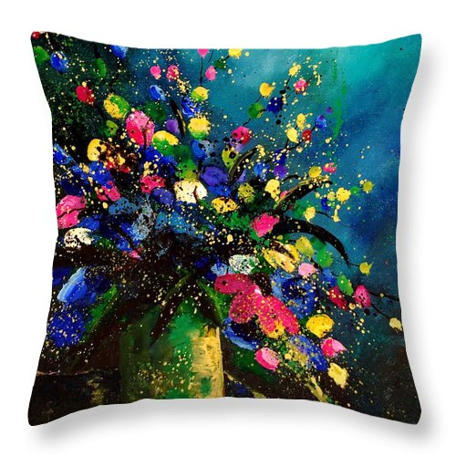 Poppies Throw Pillow featuring the painting Bunch 45 by Pol Ledent