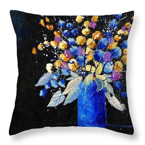 Flowers Throw Pillow featuring the painting Bunch 451008 by Pol Ledent