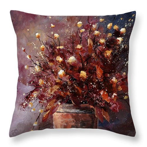 Poppies Throw Pillow featuring the painting Bunch 56 by Pol Ledent
