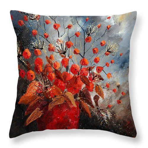 Flowers Throw Pillow featuring the painting Bunch 560608 by Pol Ledent