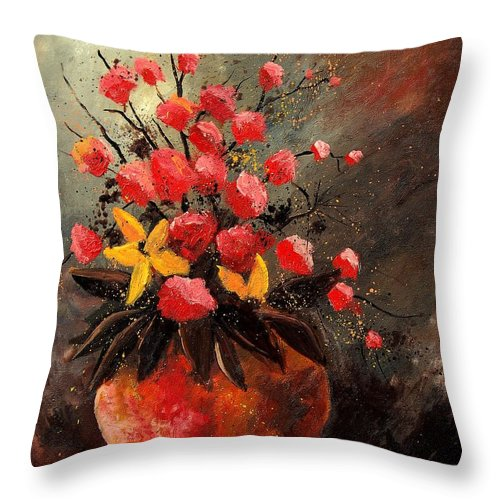 Flowers Throw Pillow featuring the painting Bunch 569060 by Pol Ledent