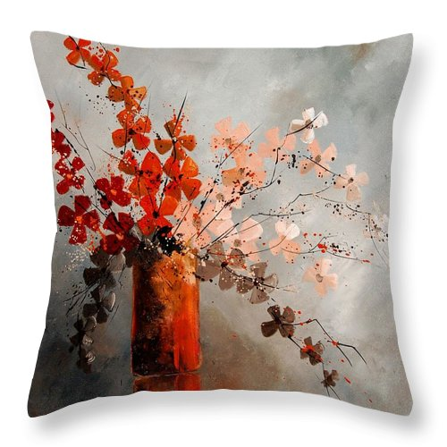 Flowers Throw Pillow featuring the painting Bunch 670908 by Pol Ledent