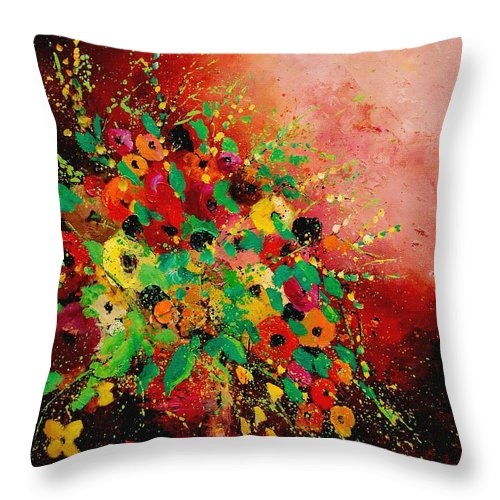 Flowers Throw Pillow featuring the painting Bunch Of Flowers 0507 by Pol Ledent