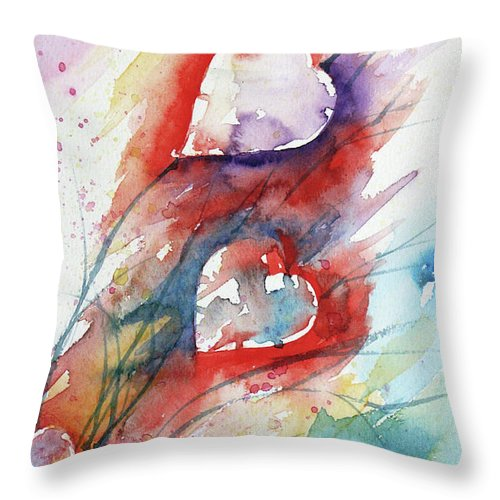 Abstract Throw Pillow featuring the painting Bunch Of Hearts by Marisa Gabetta