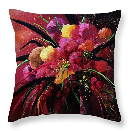 Flowers Throw Pillow featuring the painting Bunch Of Red Flowers by Pol Ledent