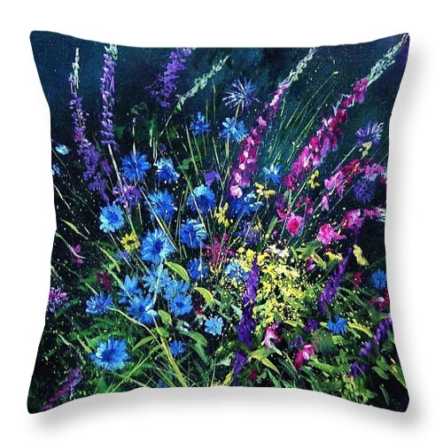 Poppies Throw Pillow featuring the painting Bunch Of Wild Flowers by Pol Ledent