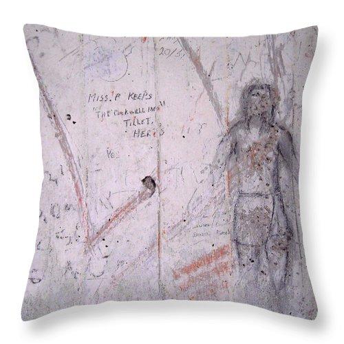 England Throw Pillow featuring the photograph Bunker Graffiti by Julia Raddatz