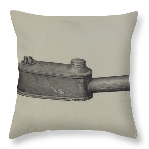 Throw Pillow featuring the drawing Bunker Lamp by Helen Hobart