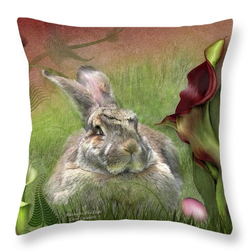 Bunny Throw Pillow featuring the mixed media Bunny In The Lilies by Carol Cavalaris