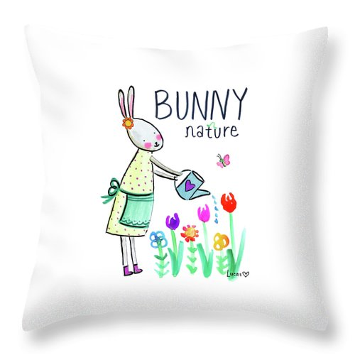 Bunny Throw Pillow featuring the painting Bunny Nature by Ashley Lucas