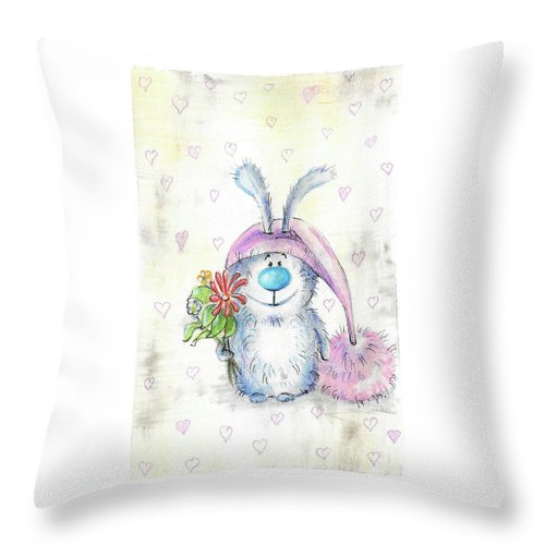 Bunny Throw Pillow featuring the painting Bunny by Yana Sadykova