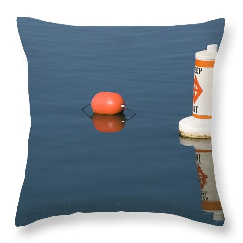 Chicago Windy City Buoy Water Lake Michigan Blue Reflection Mirror Orange Throw Pillow featuring the photograph Buoy by Andrei Shliakhau