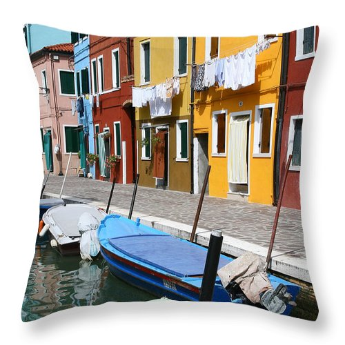 Burano Throw Pillow featuring the photograph Burano Corner With Laundry by Donna Corless
