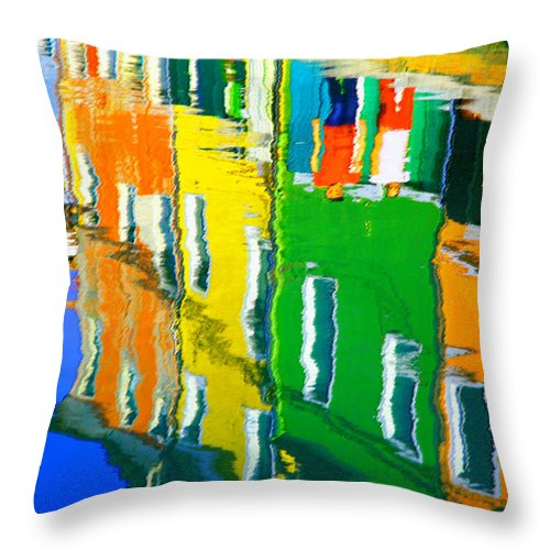 Burano Throw Pillow featuring the pastel Burano Reflections by Donna Corless