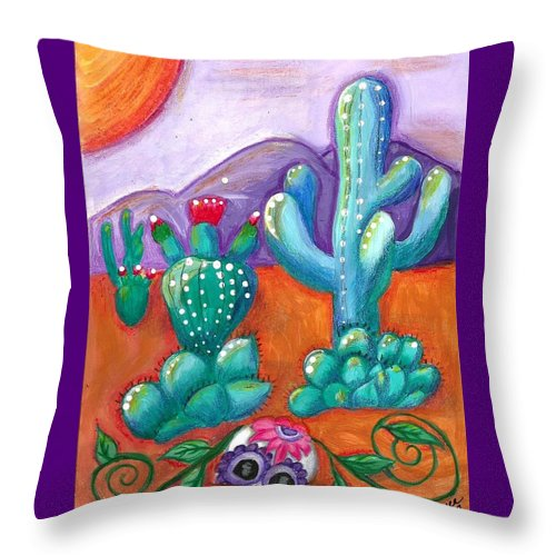 Sugar Skull Throw Pillow featuring the painting Buried Sugar Skull in Desert by Monica Resinger