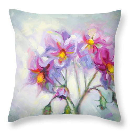 Pink Throw Pillow featuring the painting Buried Treasure by Talya Johnson