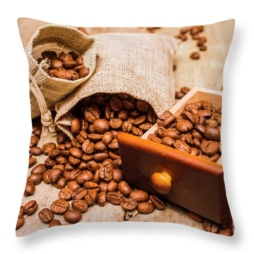 Cafe Throw Pillow featuring the photograph Burlap Bag Of Coffee Beans And Drawer by Jorgo Photography - Wall Art Gallery