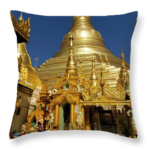 Asia Throw Pillow featuring the photograph Burma's Golden Pagoda by Michele Burgess