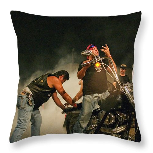 Biker Throw Pillow featuring the photograph Burn Out by Skip Hunt