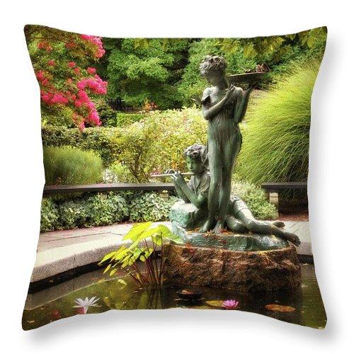 Fountain Throw Pillow featuring the photograph Burnett Fountain Garden by Jessica Jenney