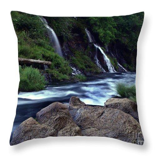 River Throw Pillow featuring the photograph Burney Falls Creek by Peter Piatt