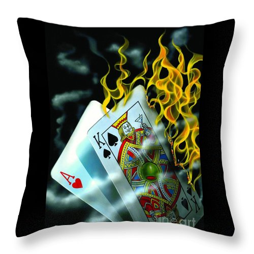 Blackjack Throw Pillow featuring the painting Burning Blackjack by Michael Godard
