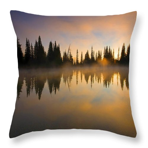 Lake Throw Pillow featuring the photograph Burning Dawn by Mike Dawson
