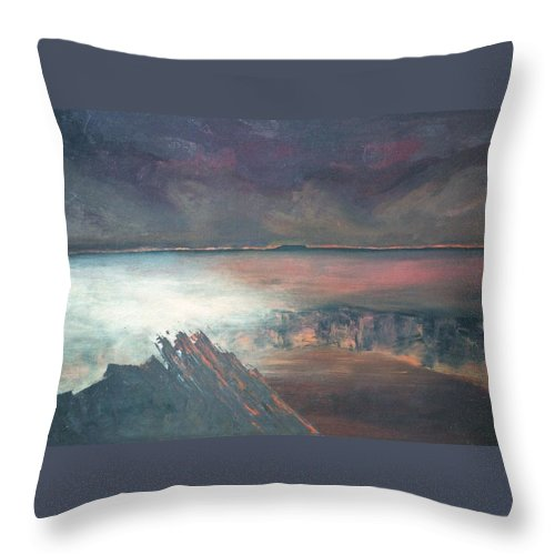 Lanscape Mountain Fire Desire Throw Pillow featuring the painting Burning Soul by Peta Mccabe
