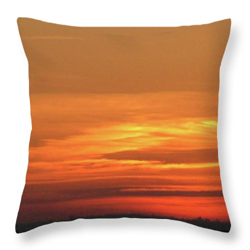 Sky Throw Pillow featuring the painting Burning Sunset by Dawn Blair