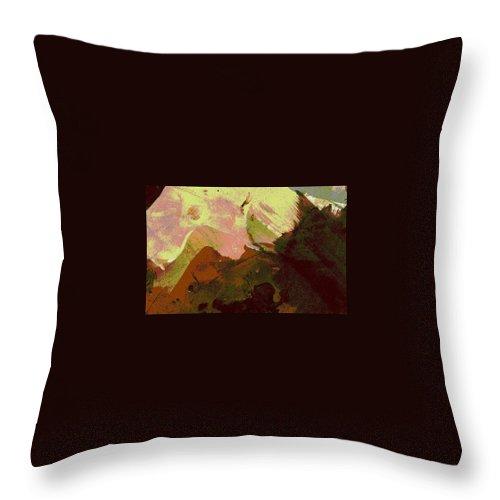Mounains. Burnt Sienna Mountains Throw Pillow featuring the painting Burnt Sienna Mountains by Melody Horton Karandjeff