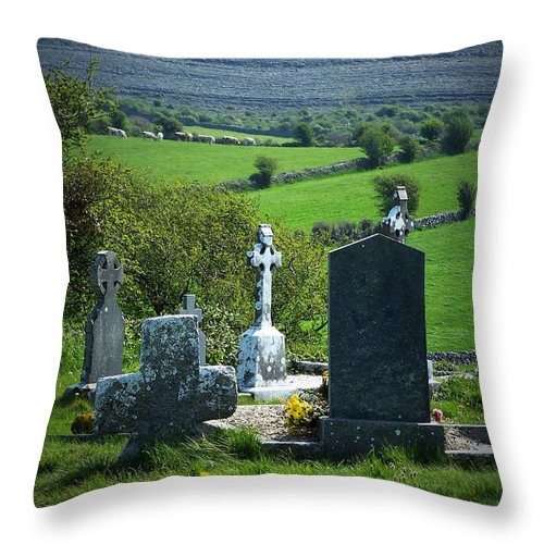 Irish Throw Pillow featuring the photograph Burren Crosses County Clare Ireland by Teresa Mucha
