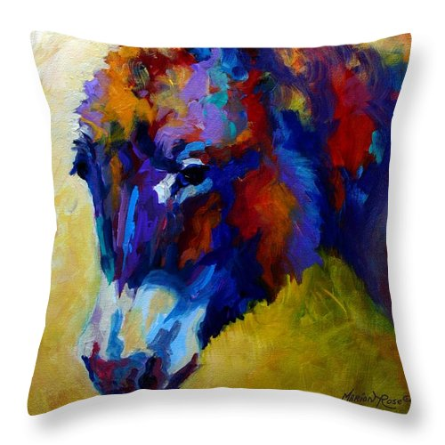 Western Throw Pillow featuring the painting Burro II by Marion Rose