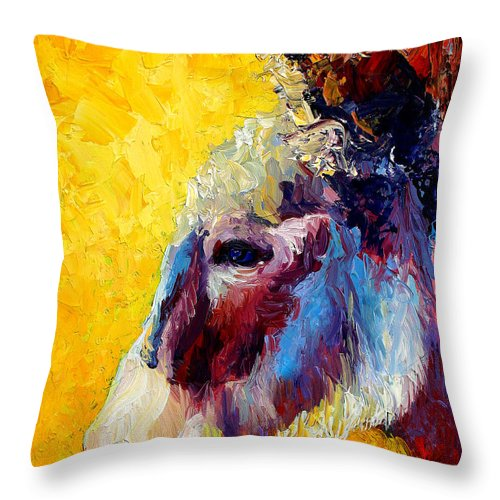Western Throw Pillow featuring the painting Burro Study II by Marion Rose