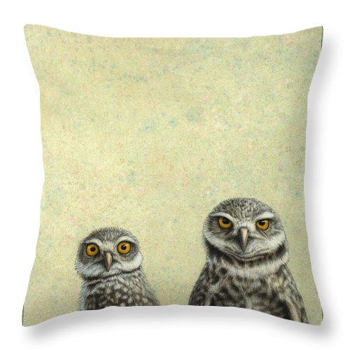 Owls Throw Pillow featuring the painting Burrowing Owls by James W Johnson