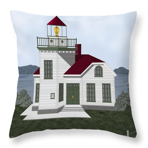 Burrows Island Lighthouse Throw Pillow featuring the painting Burrows Island Lighthouse by Anne Norskog