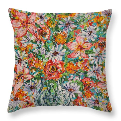 Flowers Throw Pillow featuring the painting Burst Of Flowers by Leonard Holland