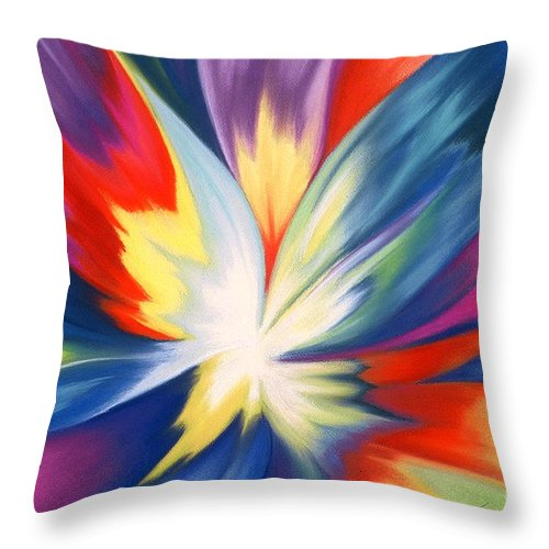Abstract Throw Pillow featuring the painting Burst Of Joy by Lucy Arnold