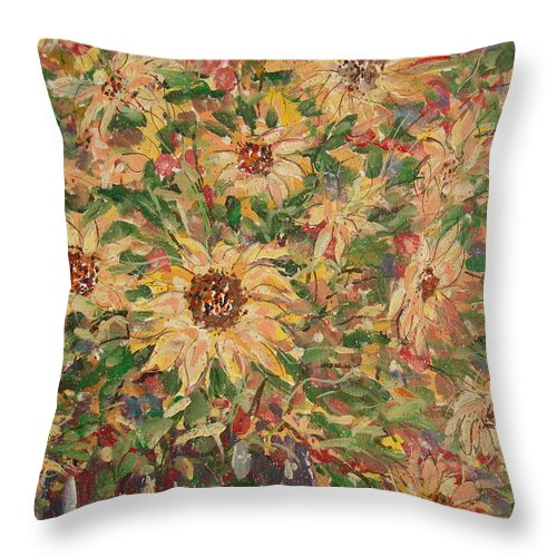 Flowers Throw Pillow featuring the painting Burst Of Sunflowers. by Leonard Holland