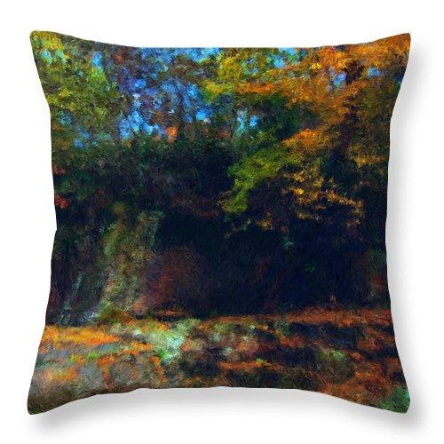 Autumn Throw Pillow featuring the digital art Bursting Autumn Cheer by Stephen Lucas